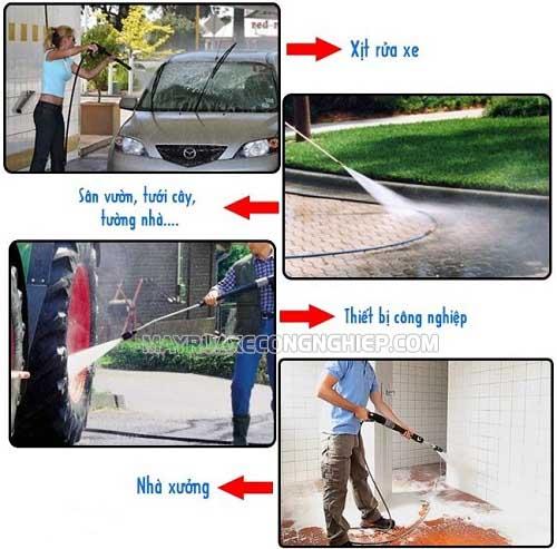 Máy rửa xe cao áp ứng dụng được vào nhiều công việc khác nhau nhờ áp lực nước lớn