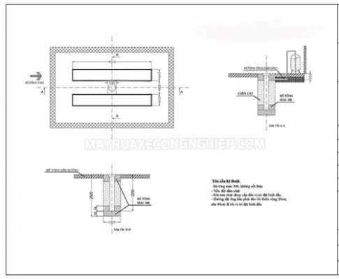 Bản vẽ mô hình lắp đặt cầu nâng ô tô 1 trụ